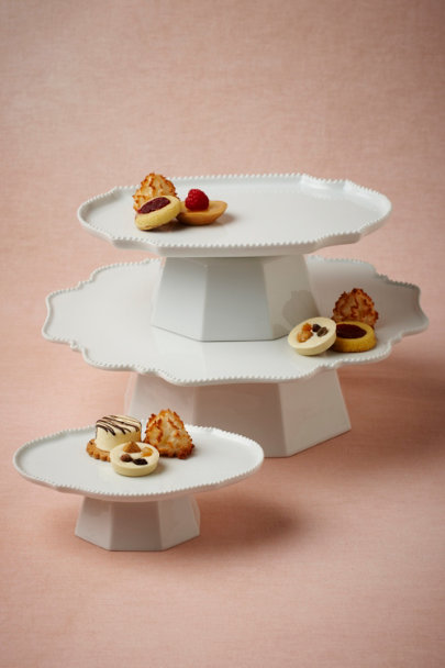 white Portraiture Cake Stands | BHLDN