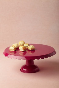 Scalloped Cake Stand, Raspberry