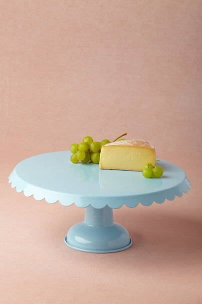 sky Scalloped Cake Stand, Blue | BHLDN