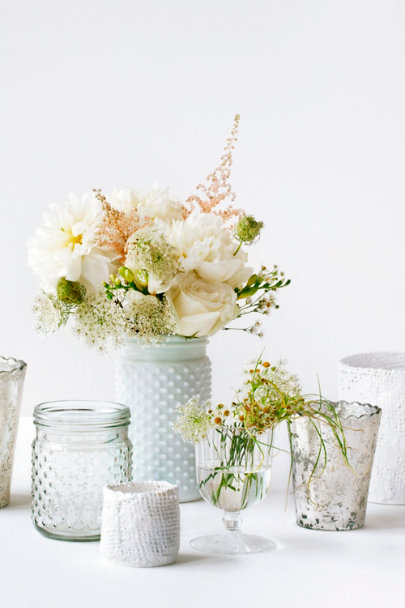 white Milk Glass Hobnail Jars | BHLDN