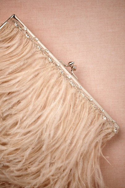 blush Aigrette Clutch | BHLDN