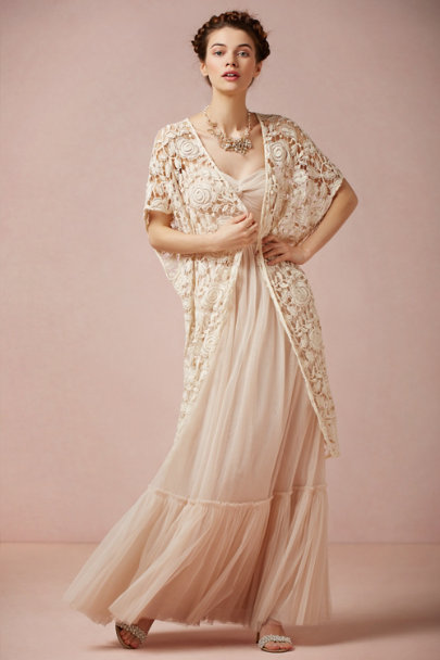 Kite and Butterfly ivory Rose Garden Cape | BHLDN
