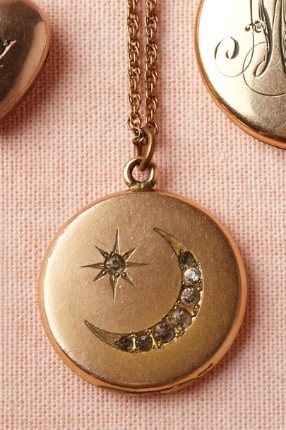 gold Waxing Crescent Locket | BHLDN