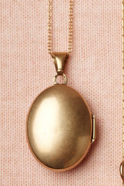 gold Ostrich Plume Locket | BHLDN