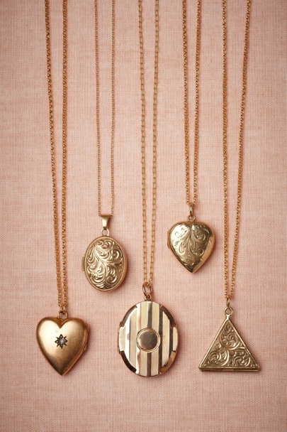 gold Polished Stripes Locket | BHLDN