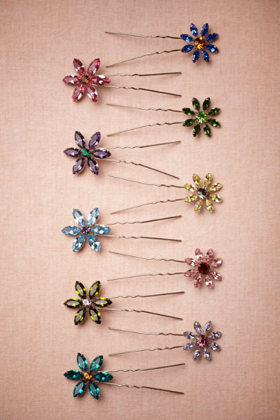 green Small Wildflower Hairpins | BHLDN