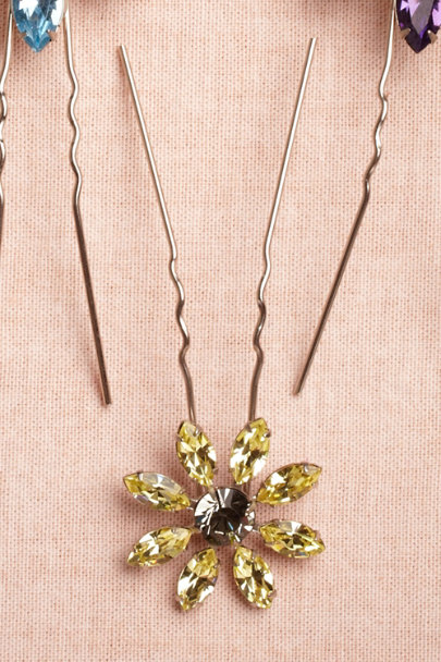 canary Small Wildflower Hairpins | BHLDN