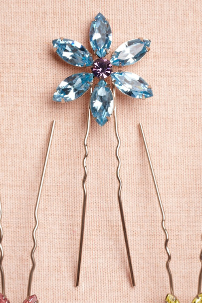 sky Large Wildflower Hairpins | BHLDN