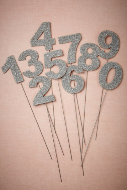 Wendy Addison silver Glittered Number Stakes | BHLDN