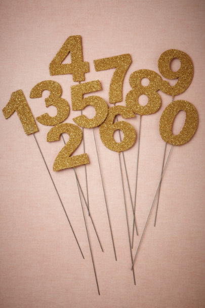 Wendy Addison gold Glittered Number Stakes | BHLDN