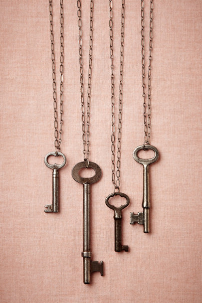 antique silver Vintage Key Necklace | BHLDN