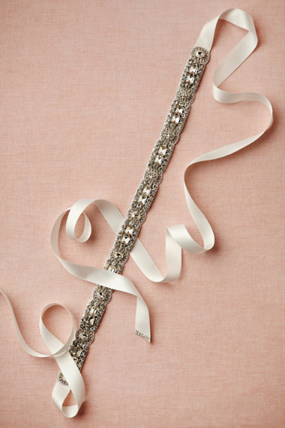 crystal/ivory Deco Shine Sash | BHLDN