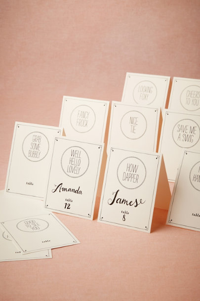black & white Catchphrase Place Cards (24) | BHLDN