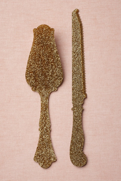 gold Glittered Cake Knife Set | BHLDN