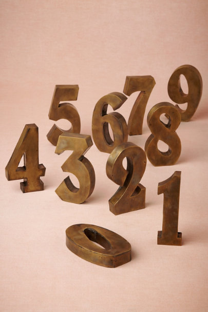 antique brass Antiqued Brass Table Numbers | BHLDN