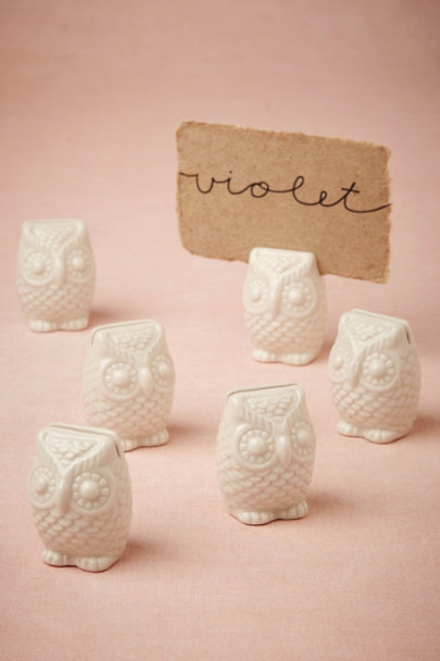 white A Hoot Place Card Holders | BHLDN