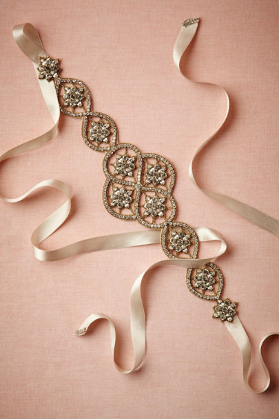 bronze/pale blush Crystal Lattice Sash | BHLDN