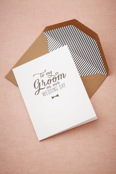 Sugar Paper Ivory/Black To My Groom Card | BHLDN