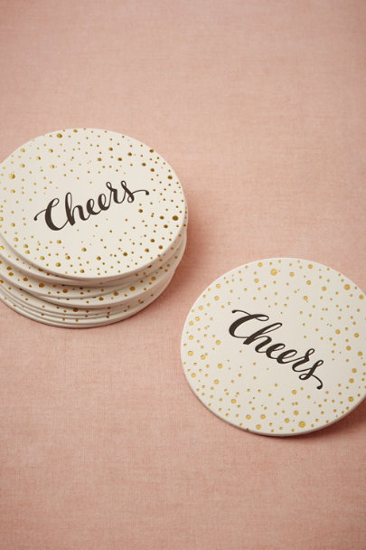 Sugar Paper gold Cheers Coasters (15) | BHLDN