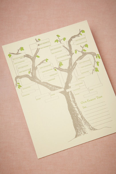 green Letterpress Family Tree | BHLDN