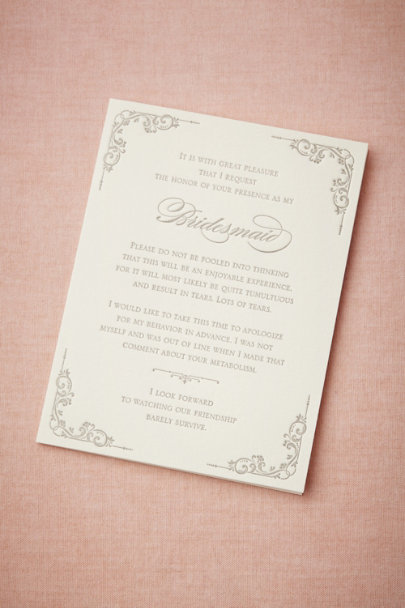 Bridesmaid Survival Card