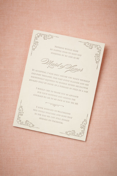 ivory Maid-of-Honor Survival Card | BHLDN
