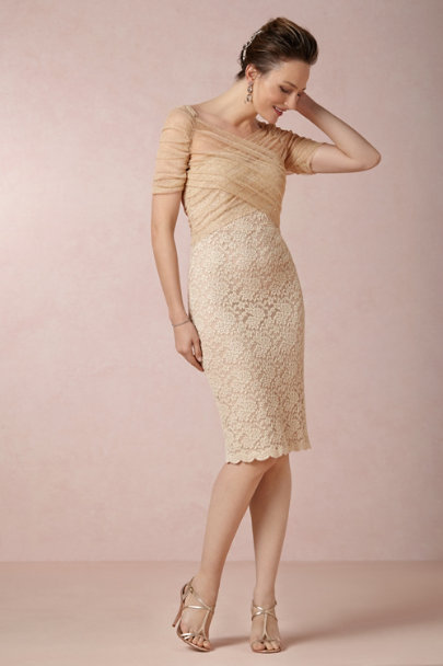 Badgley Mischka gold Hydrangea Lace Dress | BHLDN