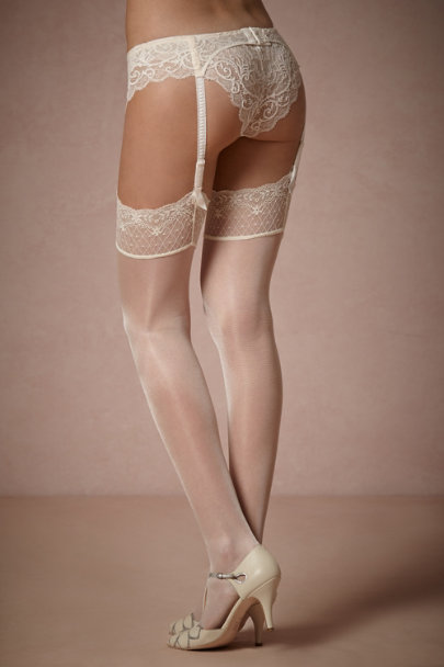 off white Shimmering Thigh Highs | BHLDN