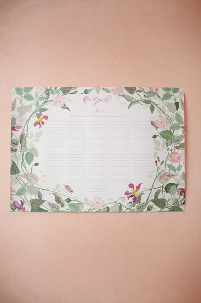 green/pink motif Gardenway Guest Scroll | BHLDN