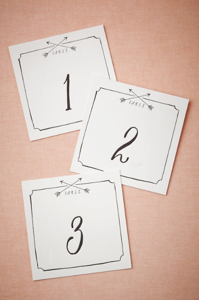 black & white Arrow Table Numbers (5) | BHLDN