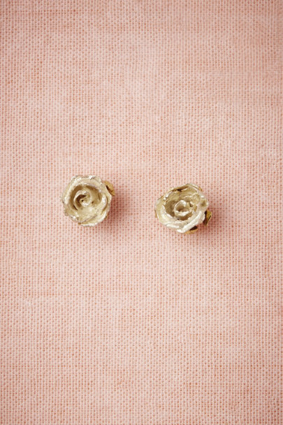 silver Silver Rose Earrings | BHLDN