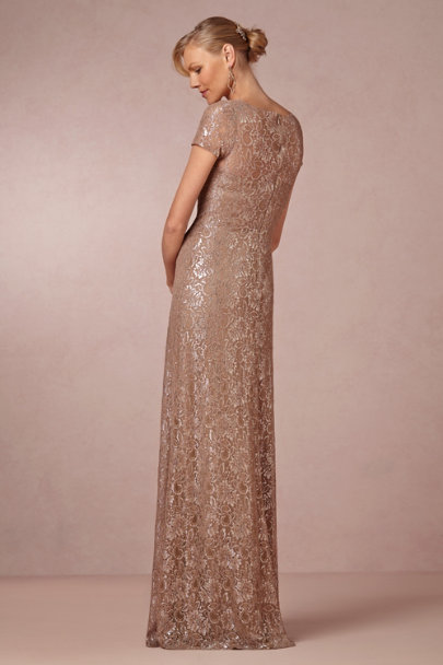 taupe/silver Sterling Lace Dress | BHLDN