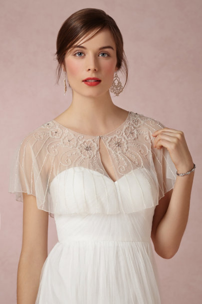 Ivory Beaded Botany Capelet | BHLDN