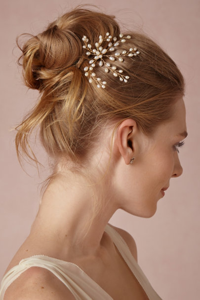 gold/pearl Dewed Vines Hairpin | BHLDN