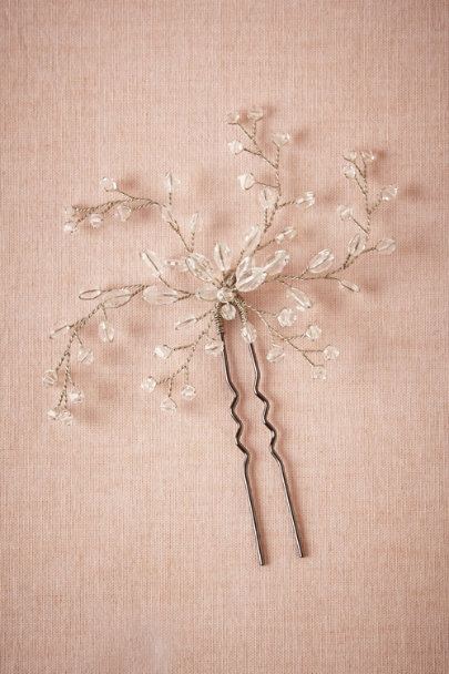 silver/crystal Dewed Vines Hairpin | BHLDN