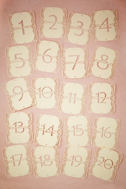 ivory Lacy Lasercut Table Numbers (5) | BHLDN