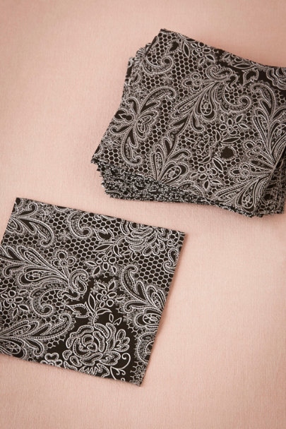 black Chantilly Cocktail Napkins (15) | BHLDN