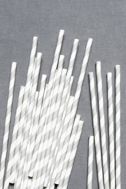 grey Spiraled Shoppe Straws (25) | BHLDN