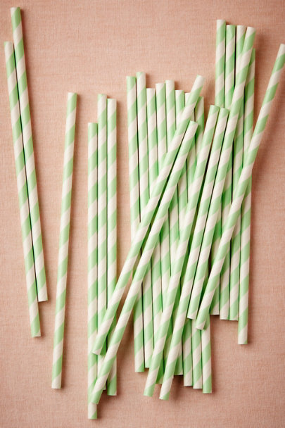 mint Spiraled Shoppe Straws (25) | BHLDN
