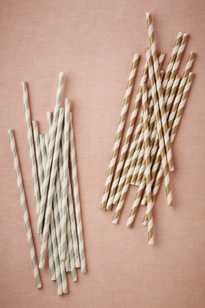 Silver Metallic Swirl Straws (25) | BHLDN