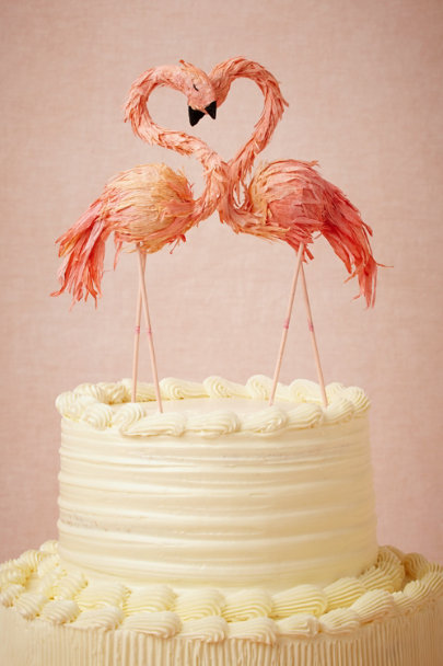 Ann Wood pink Flaming Flamingo Cake Topper | BHLDN