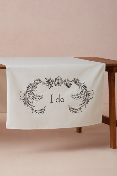 white I Do Table Banner | BHLDN