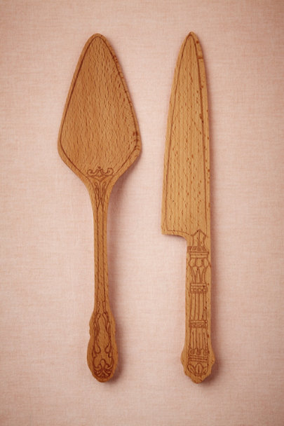 natural Beech Wood Cake Serving Set | BHLDN