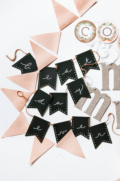 black Wooden Chalkboard Pennants (15) | BHLDN