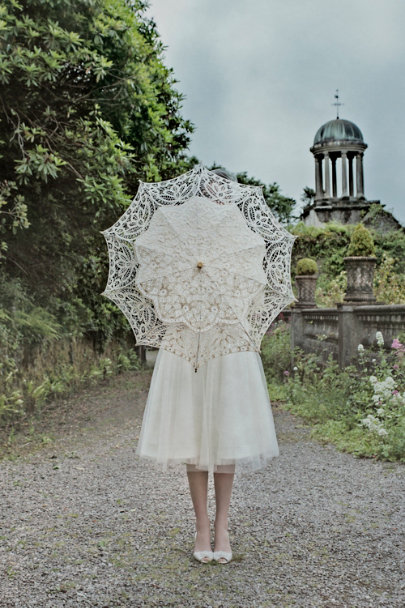 white Picturesque Parasol | BHLDN