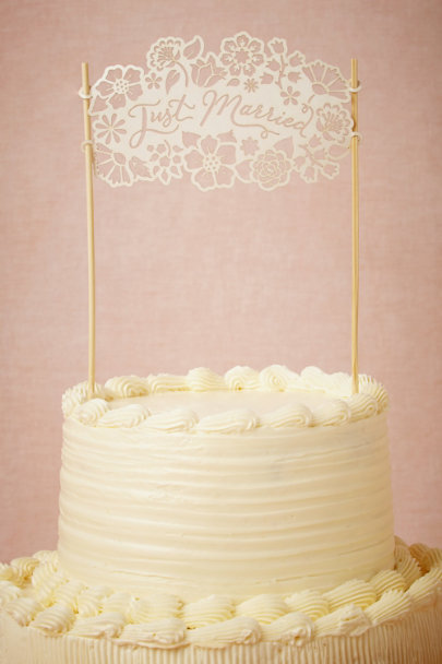Alexis Mattox ivory Just Married Cake Topper | BHLDN