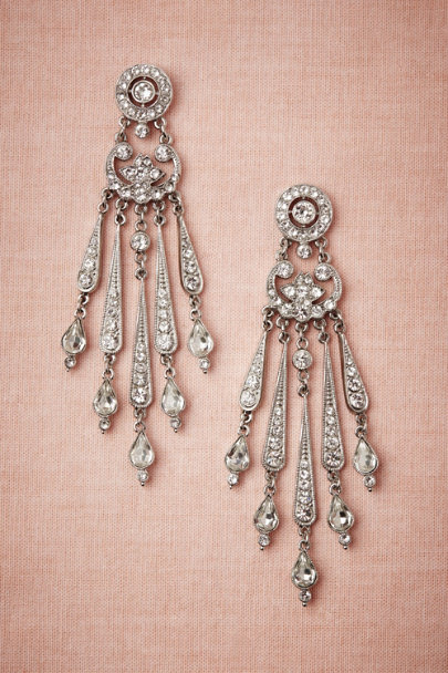 Ben-Amun Silver Sparkled Stream Earrings | BHLDN