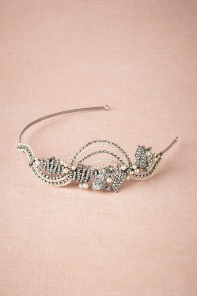 silver Swooped Deco Headband | BHLDN
