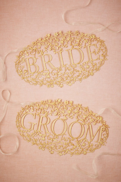 maple wood Bride & Groom Banners (2) | BHLDN