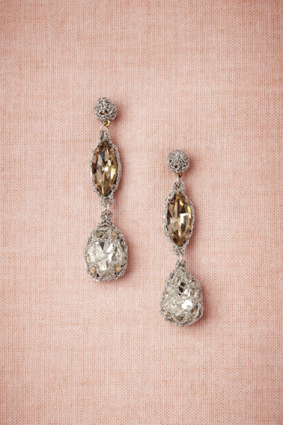 St. Erasmus Silver Demure Sparkle Earrings | BHLDN